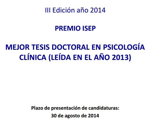 iii edicion premio isep tesis psicologia clinica