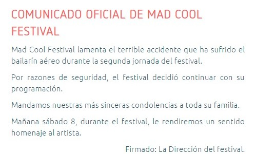 mad cool festival tragedia